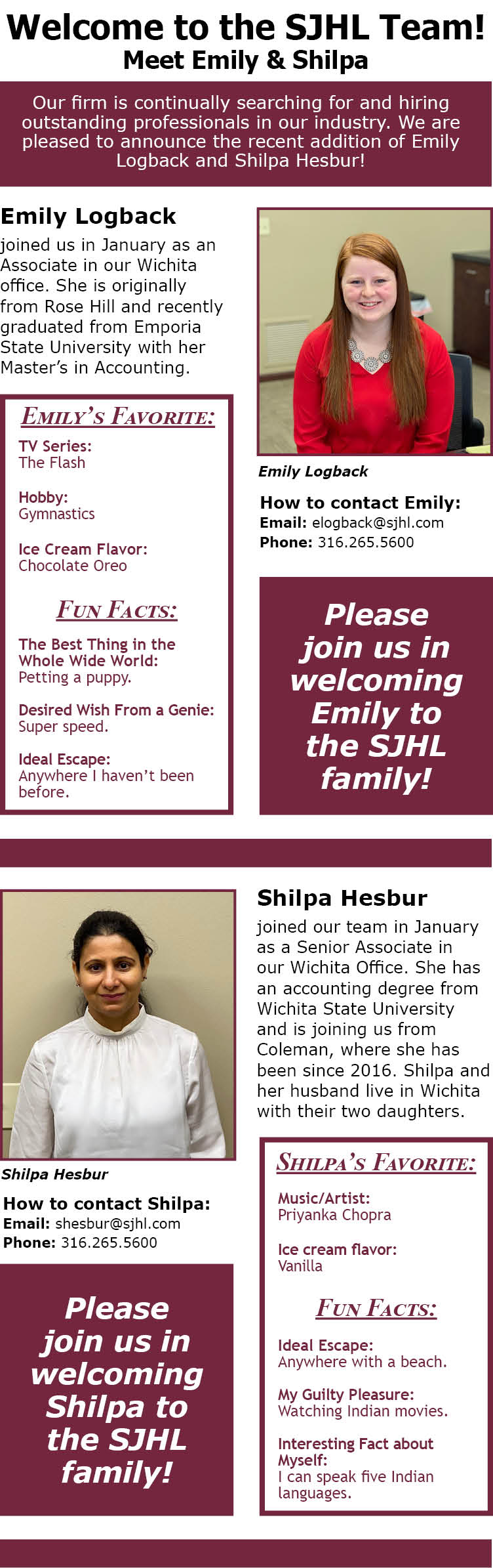 Welcome Emily and Shilpa