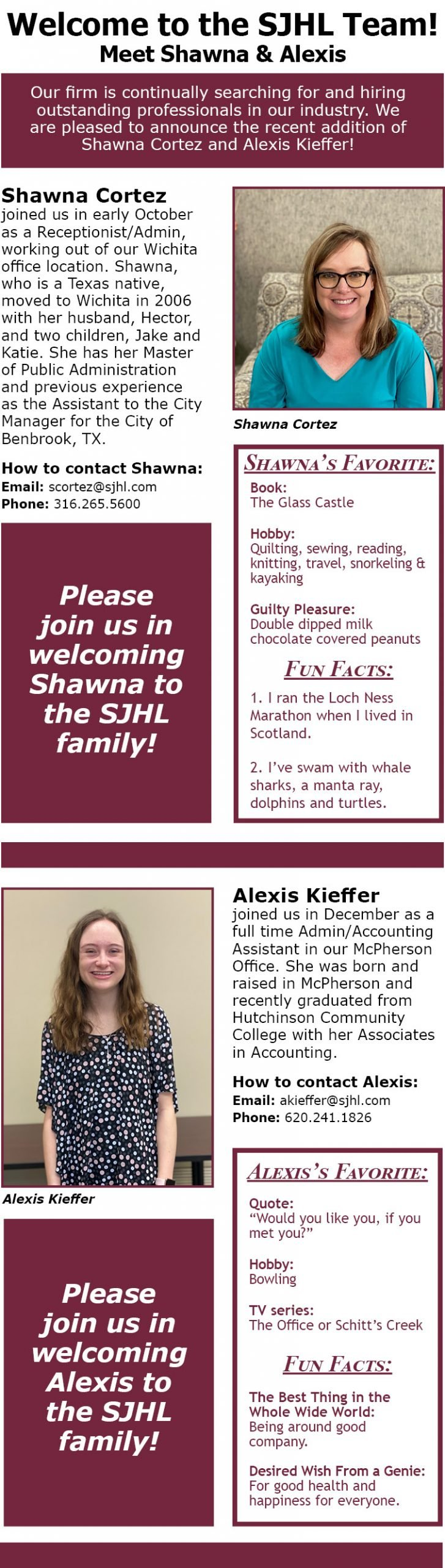 Welcome Shawna and Alexis