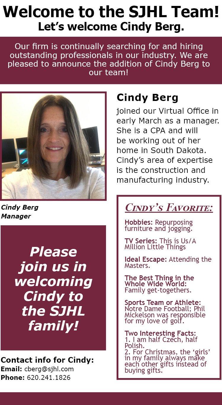 Welcome Cindy